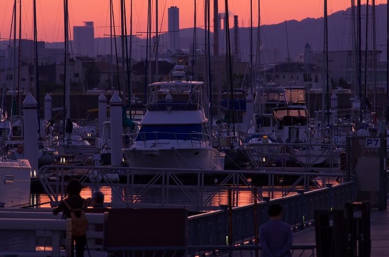 新西宮ヨットハーバー 夕陽 夕焼け