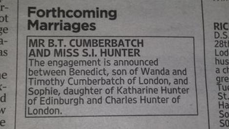 20141105カンバーバッチ婚約の紙面