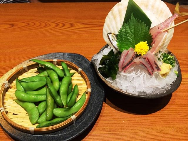 枝豆と鯵の刺身