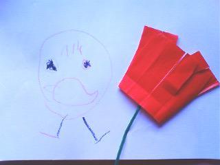 似顔絵と花1