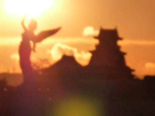 高知城の夕日