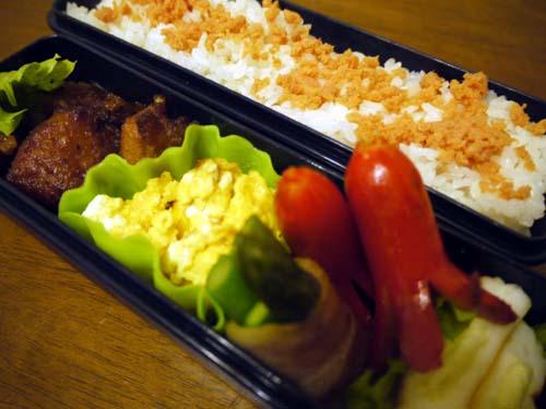 10/24 からあげ、炒り玉子、ウィンナー、アスパラベーコン、はんぺんチーズ