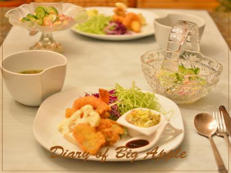 海老&カキフライで夕飯