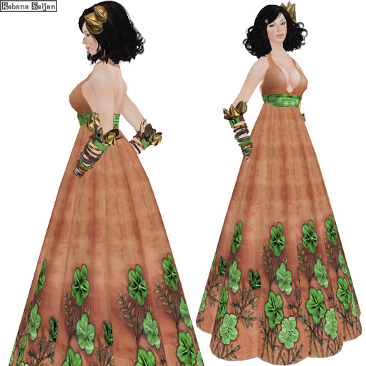 $GaNKeD$ Flora Dress (Orange&Green)