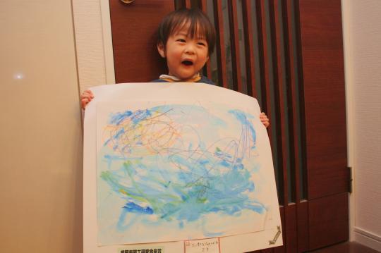 次男が描いた中津川の絵