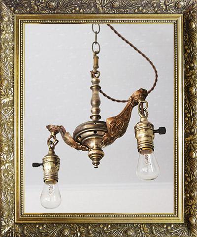 USA真鍮製2灯ペンダントライト吊下ランプ/アンティークランプ照明