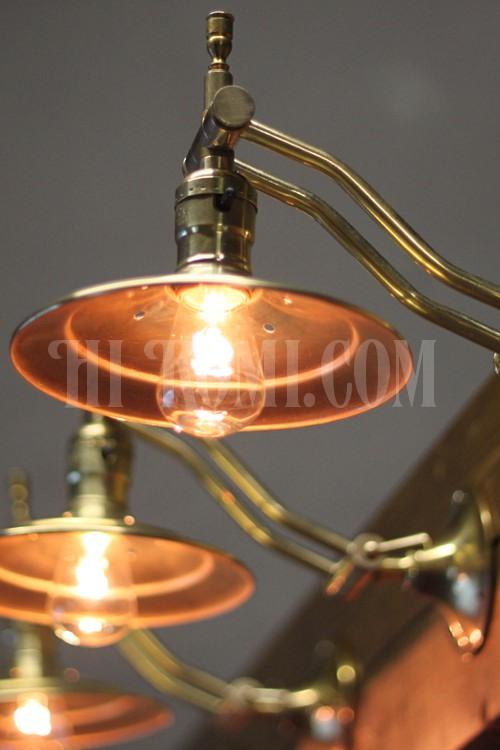 インダストリアル 工業系 真鍮製角度調整ダブルアームシェード付ブラケットF/ヴィンテージ壁掛照明アトリエランプ