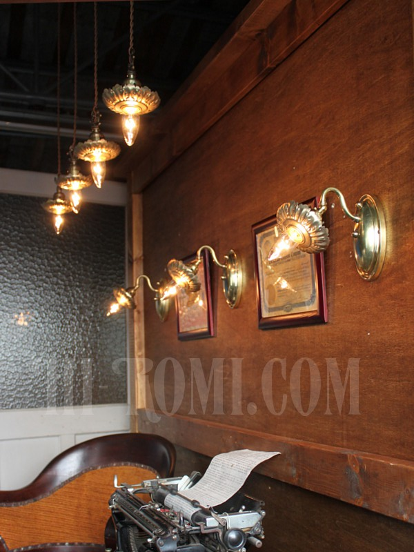 USAヴィンテージ真鍮製花型フレーム付きプッシュ式ソケットペンダントランプ/アンティークヴィクトリアン吊下アトリエライト