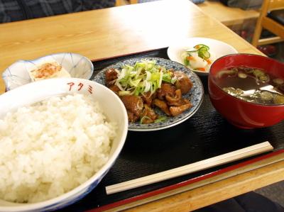 モツ定食(塩川鳥モツ)@アタミ食堂