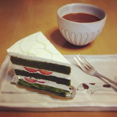 抹茶とイチゴのショートケーキ@柏屋