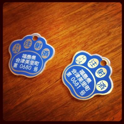 会津美里町の狂犬病予防注射済証の札