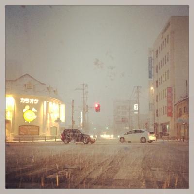 雪の会津若松市内