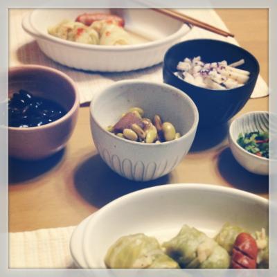 黒豆・青豆(数の子和え)・長芋・おみ漬け