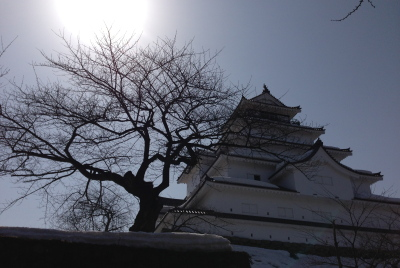 鶴ヶ城天守閣(稲荷神社前より)