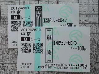 2012年7月1日 中京8R(単勝最高配当)