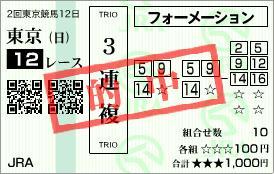 2012年5月27日 東京12R 目黒記念(3連複)