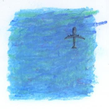 海に映る飛行機