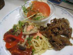 明太パスタ&牛肉の照り焼き()