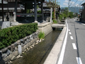 道沿いの清流の流れ