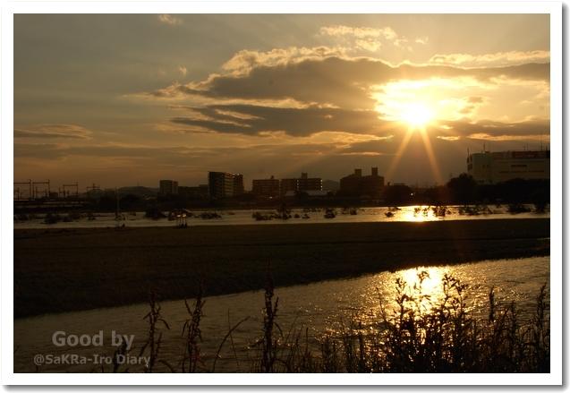 夕日と川のコラボ