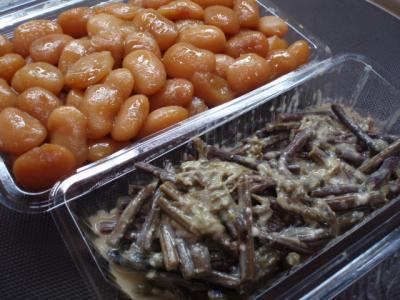 20111229花豆煮&わらびの酒粕味噌あえ