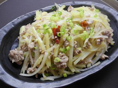 20121215ジャガイモとひき肉のナンプラー炒め