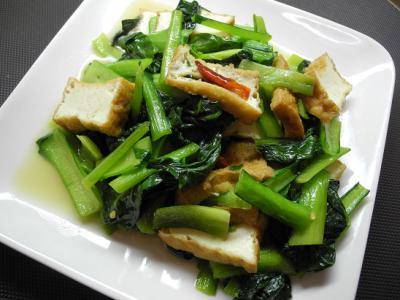 20130216小松菜と厚揚げ炒め