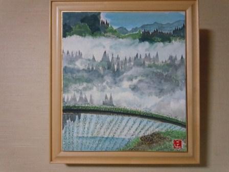 草場正人氏画「たんぼ」(新潟県松之山町にて)