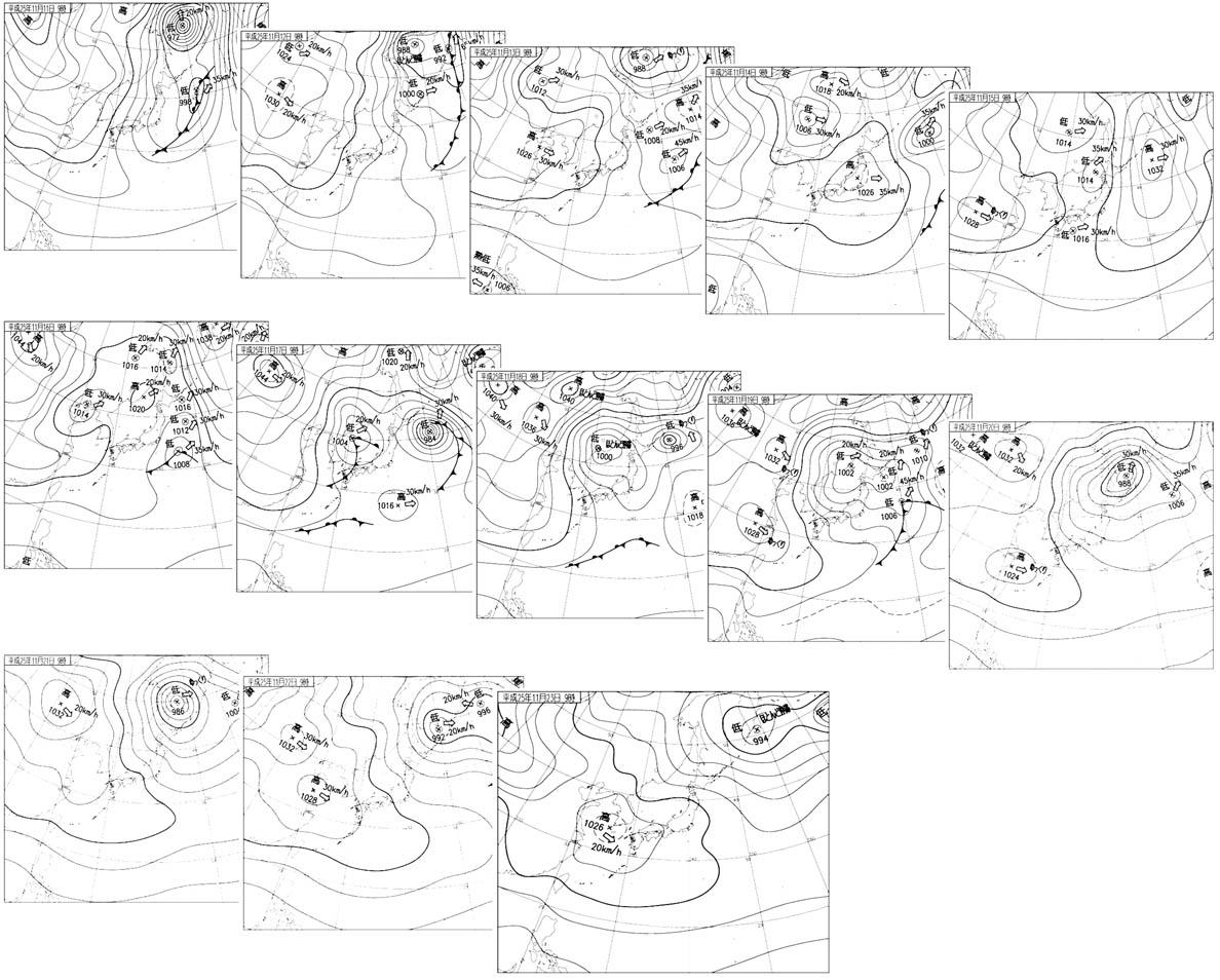 11月10日~23日の天気図