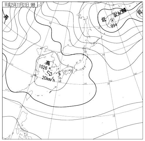 11月23日 雪崩時の天気図