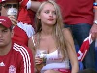 デンマークの勝利の女神!? スタンドにいたセクシーなデンマーク美女の動画 【Euro2012】