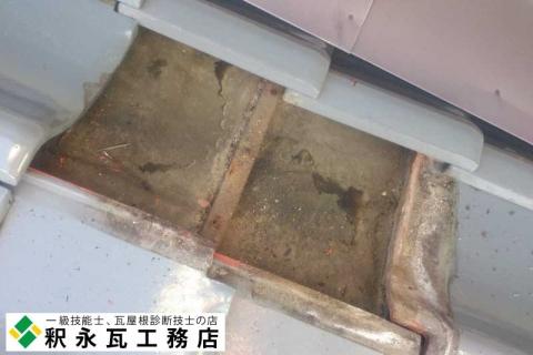富山市婦中町の瓦屋根、雨漏り修理、点検