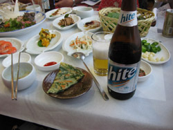韓国ビールとチジミ