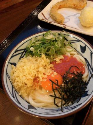 丸亀製麺、明太釜玉うどん、かぼちゃ天、半熟玉子天1