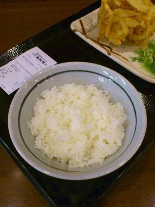 丸亀製麺大和店で天丼用ごはんと野菜かき揚げ。2