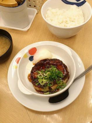 松屋鶏つくねハンバーグ定食3