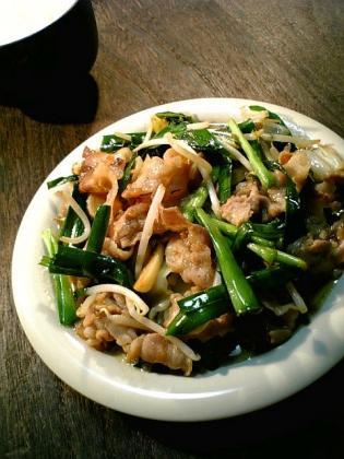 肉、野菜、ニラ、スタミナ定食1