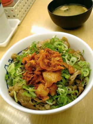 松屋ラー油・カクテキキムチ牛めし並2