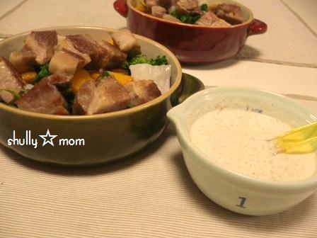 塩豚de温野菜のサラダ 自家製胡麻ドレッシングがけ