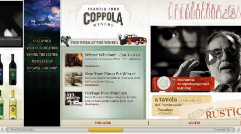 ワイナリーのホームページと見せて家族の年表というコッポラのサイト
