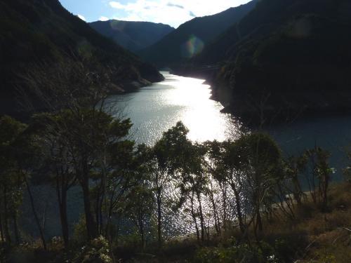 逆光で輝く湖畔