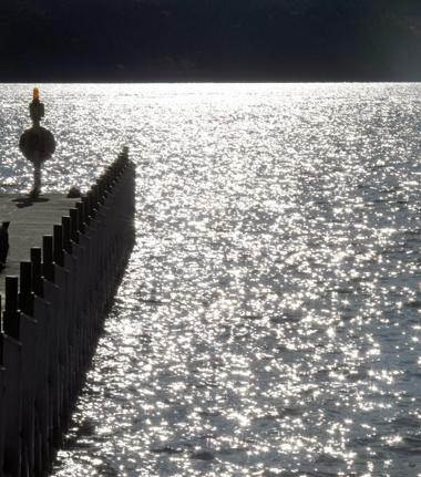 光る芦ノ湖