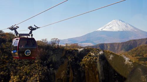 富士山にかかるロープウェイ2