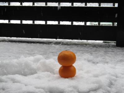 みかんの雪だるま