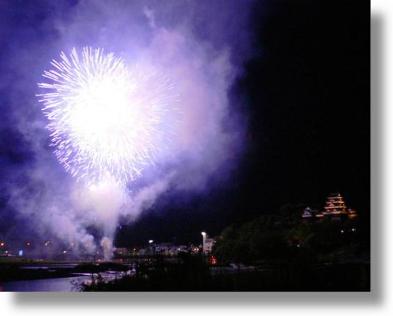 大洲城と花火