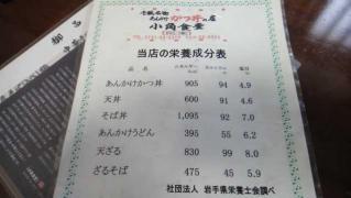 小角食堂 カロリー表