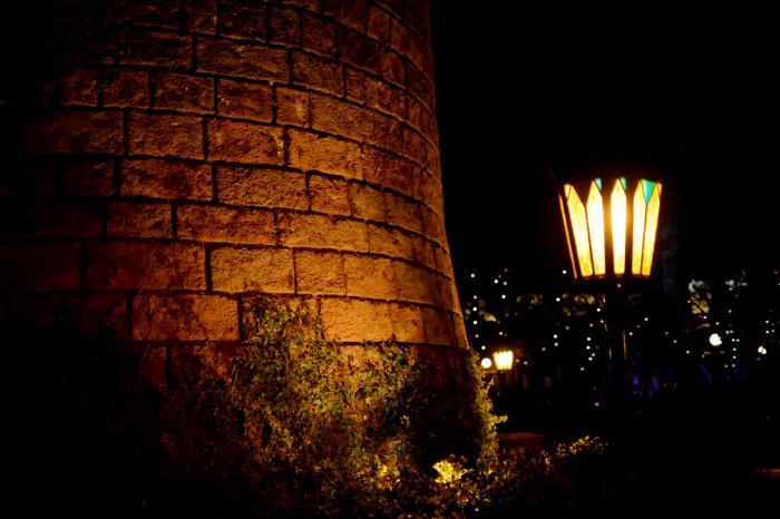 ランプに照らされる石垣