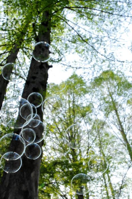 森の中でシャボン玉