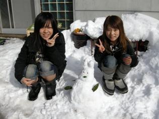 うさぎ雪だるま