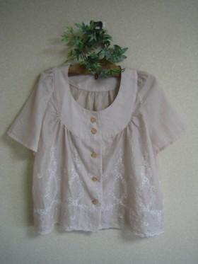 裾スカラップシャツジャケット
